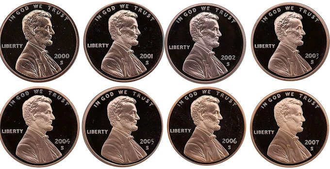 2000-2007 S Lincoln Cent Proofs