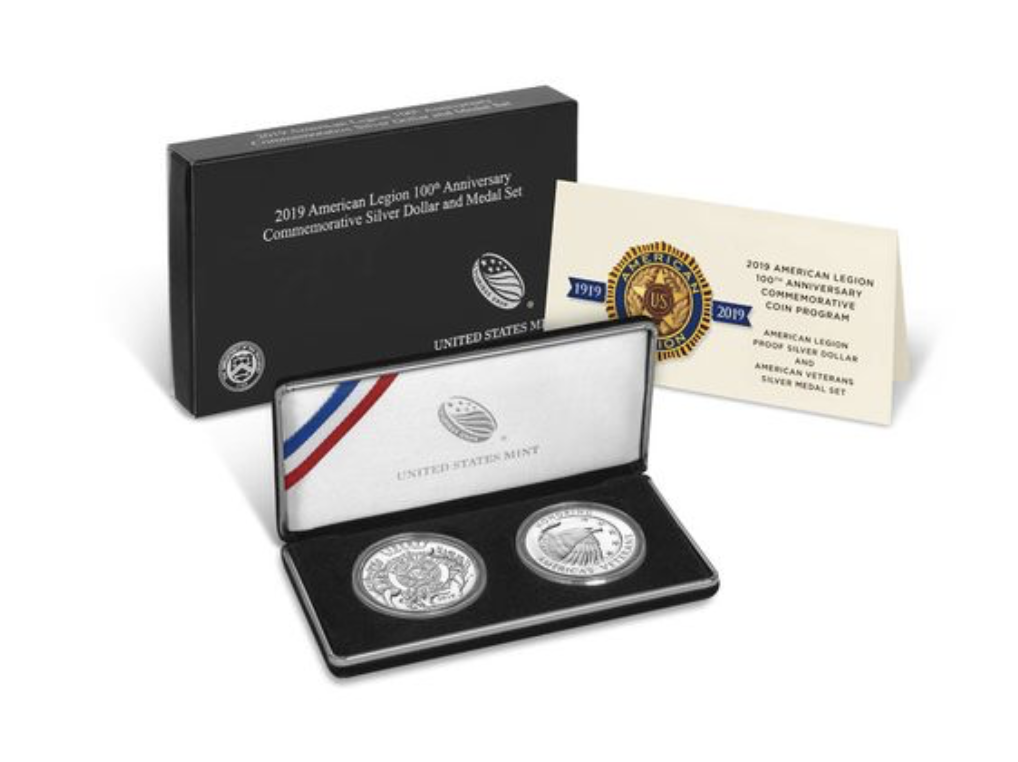 American Legion 100th Anniversary 2019 Proof Silver Dollar and Medal Set