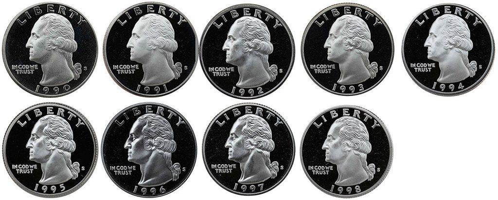 1990-1998 S Washington Quarter Proof Set