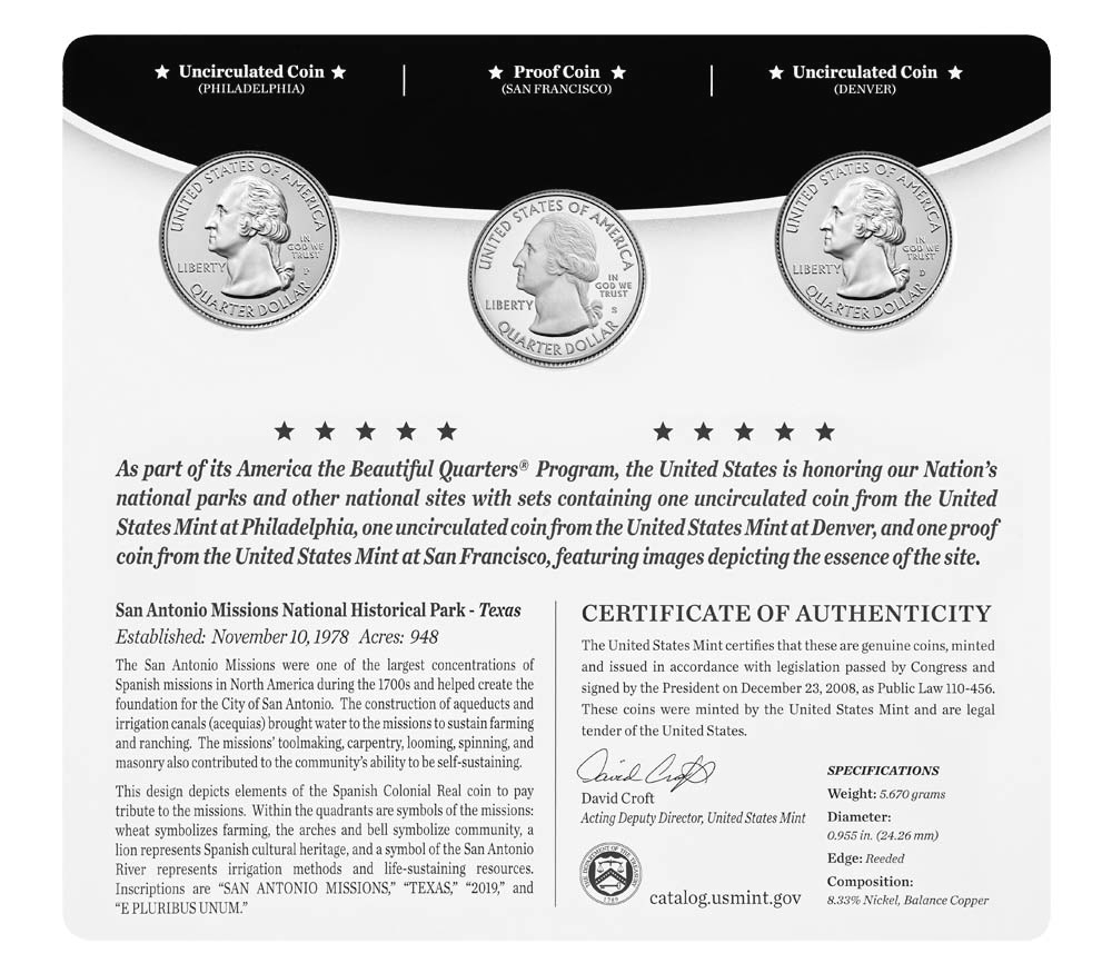 San Antonio Missions National Historical Park 3-Coin Set