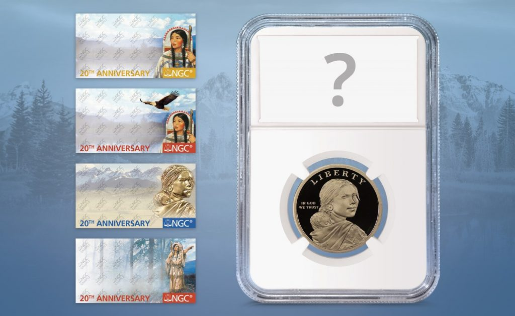 NGC Sacagawea Dollar 20th Anniversary Labels