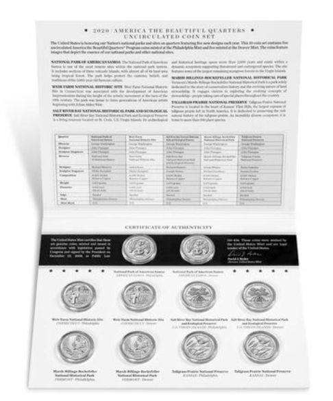 America The Beautiful 2020 Uncirculated Coin Set