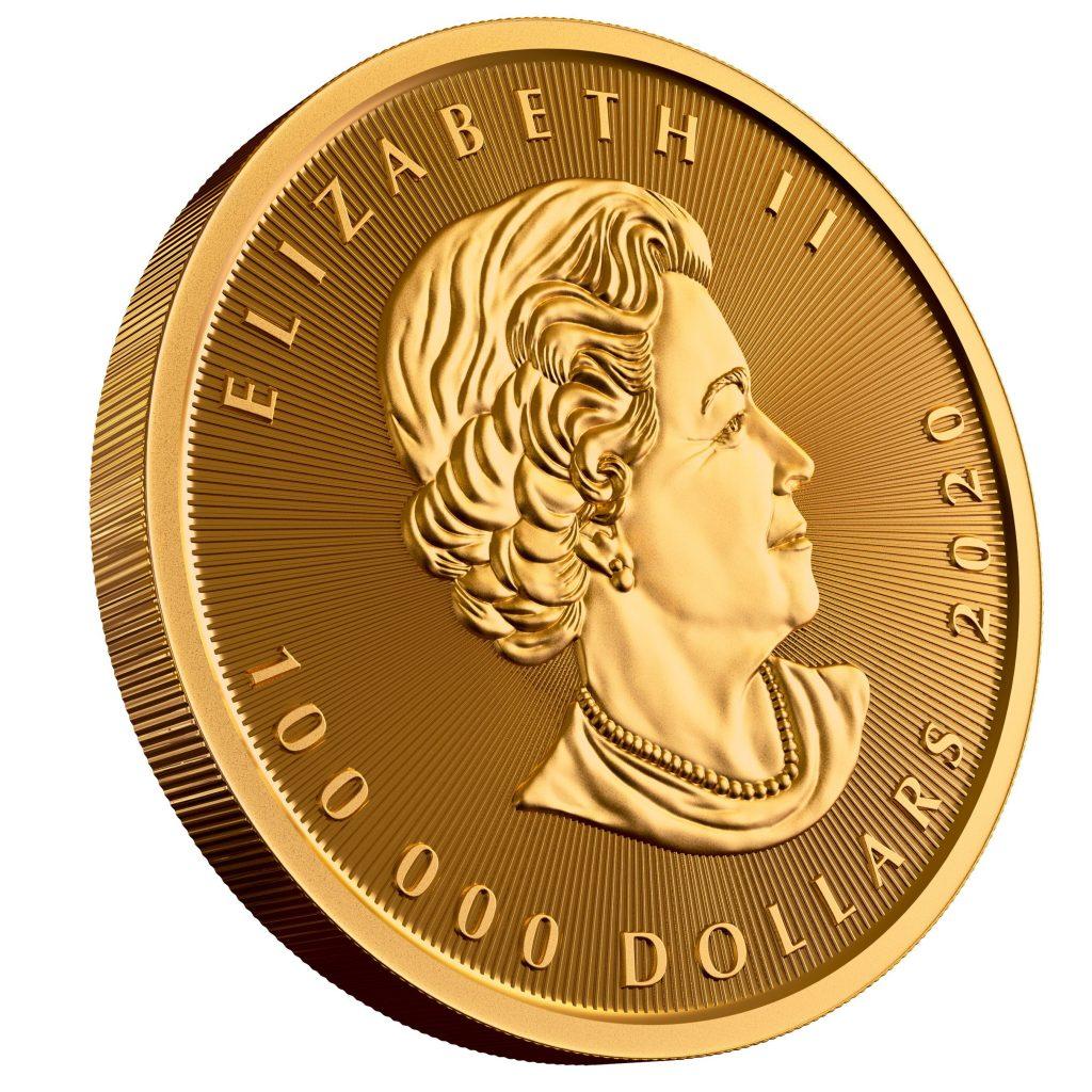 Royal Canadian Mint $100,000 Gold Maple Leaf Obverse