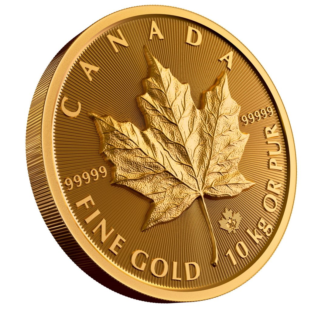 Royal Canadian Mint $100,000 Gold Maple Leaf Reverse (Image Courtesy of the Royal Canadian Mint)
