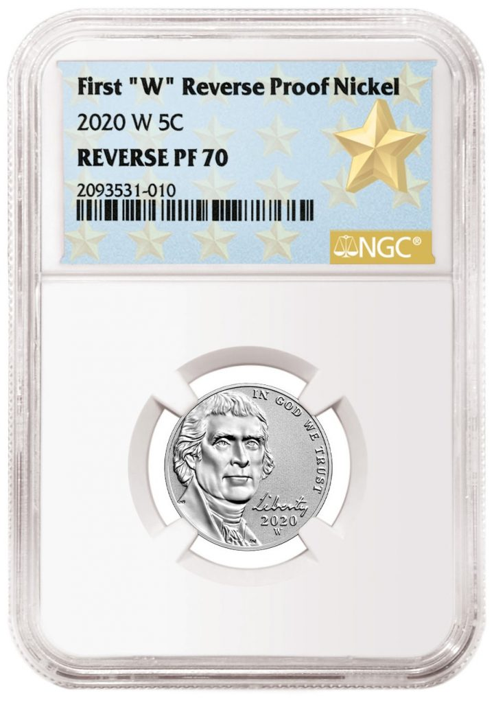 2020-W Jefferson Nickel Reverse Proof First Label from NGC