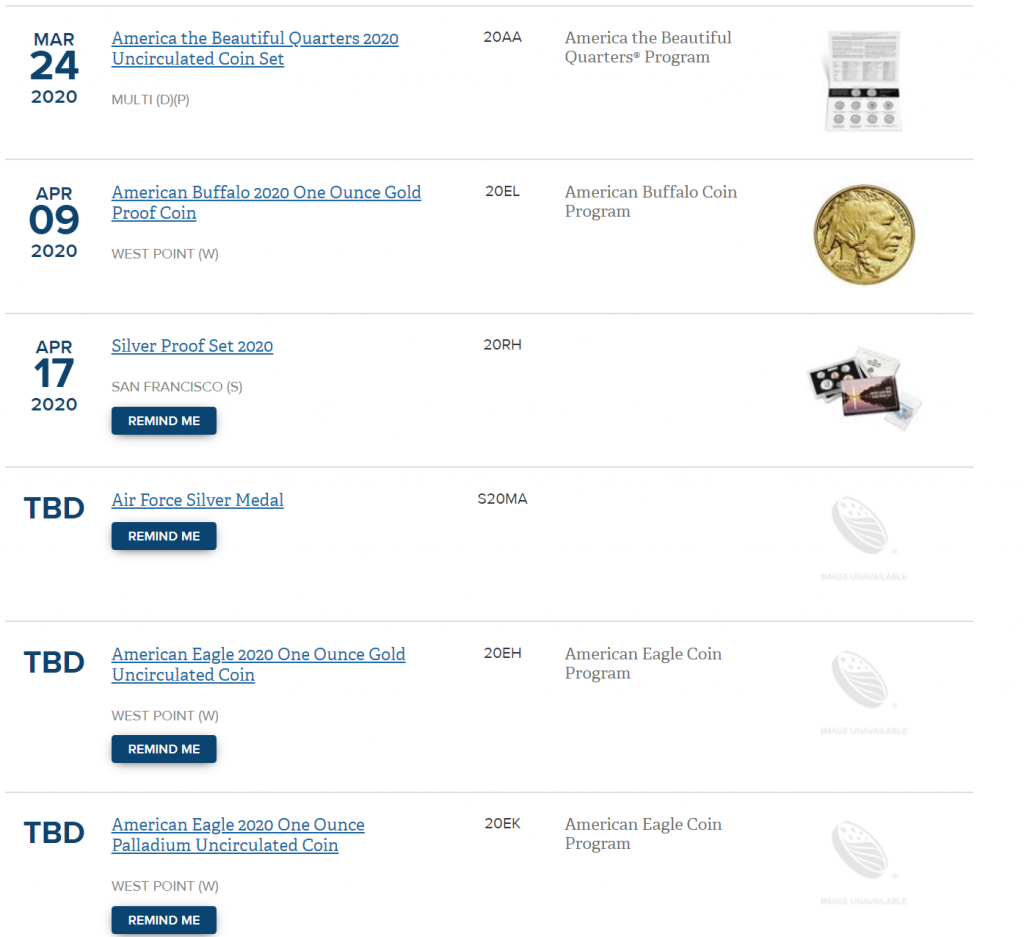 US Mint Numismatic Products Schedule Reflecting TBD Status