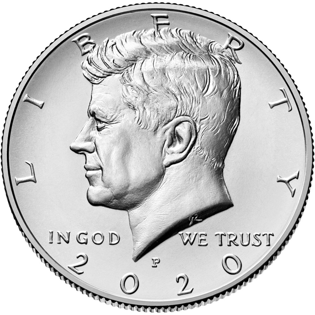 2020 Kennedy Half Dollar Obverse (Image Courtesy of The United States Mint)