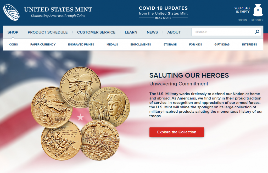 US Military Appreciation Coins & Medals Landing Page