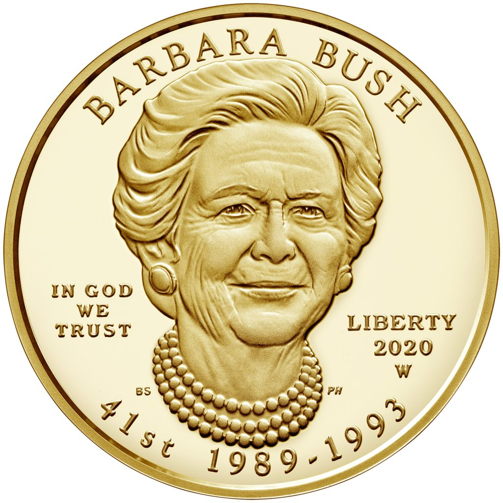 Barbara Bush First Spouse Gold Coin Proof Obverse