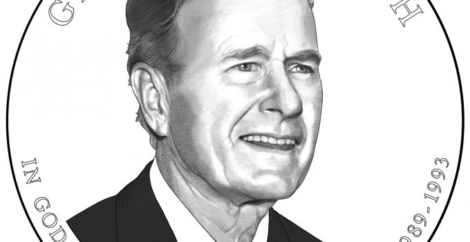 President George HW Bush Presidential Dollar Obverse Line Art
