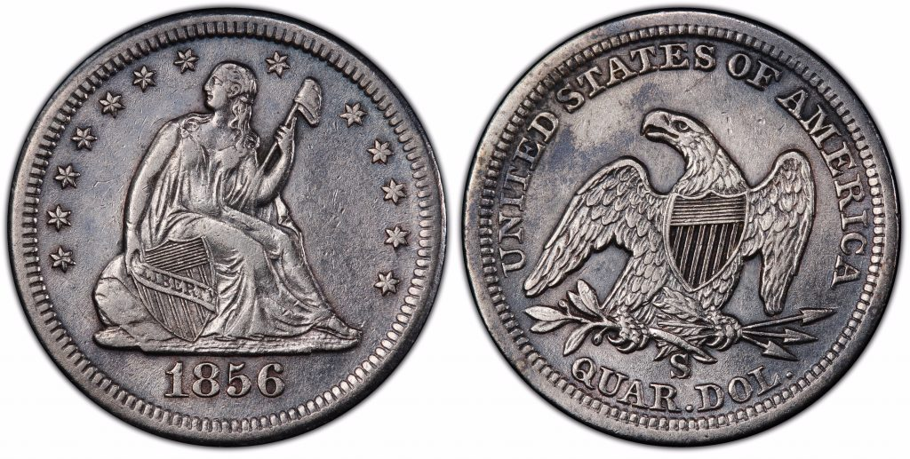 SSCA 1856 S over s PCGS XF45 From The S.S. Central America