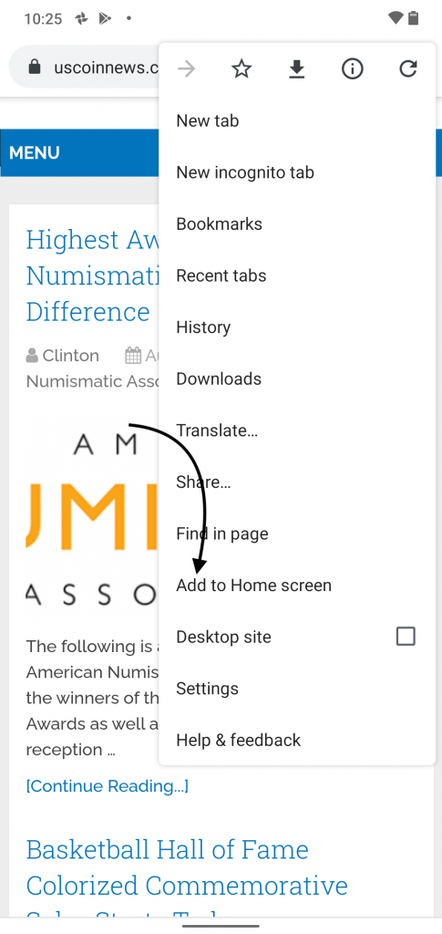 Add to Home Screen in Chrome on Android