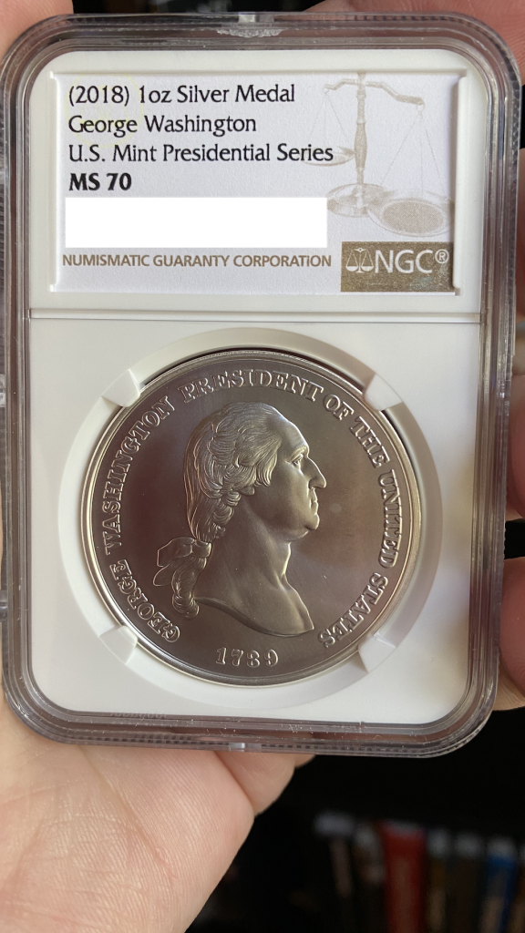 NGC MS 70 George Washington Presidential Silver Medal