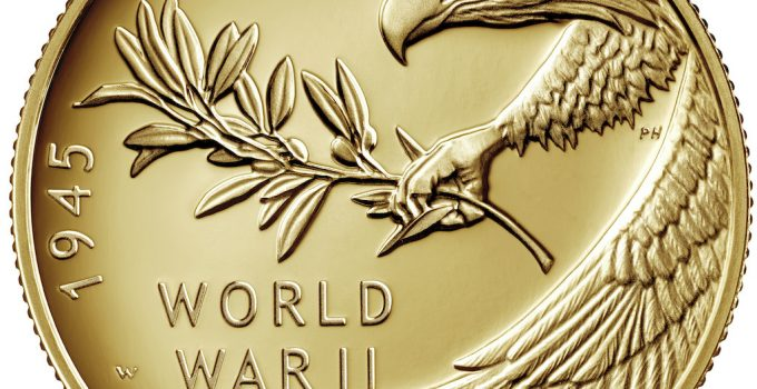 2020 End of World War II Gold Coin Obverse (Image Courtesy of The United States Mint)