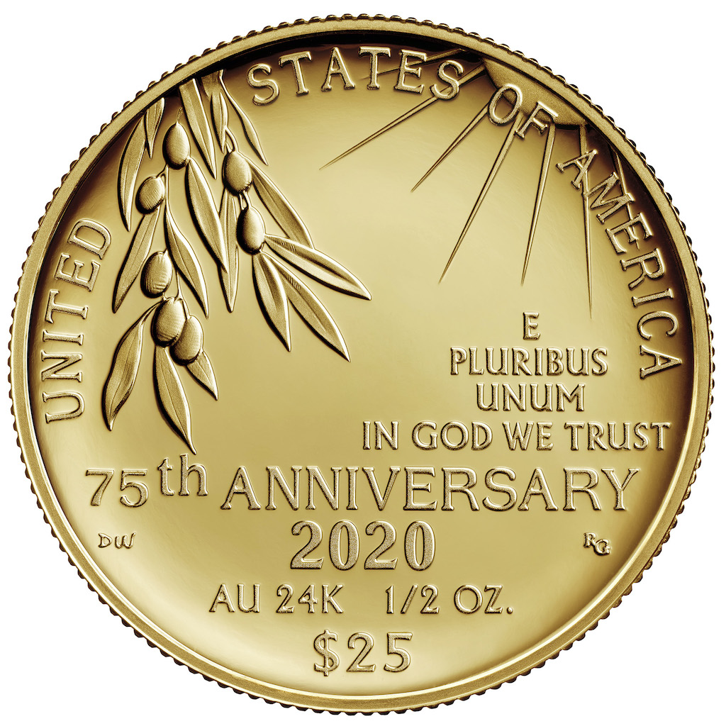 2020 End of World War II Gold Coin Reverse (Image Courtesy of The United States Mint)