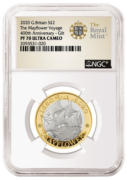 2020 Great Britain MayFlower Silver with NGC Royal Mint special label