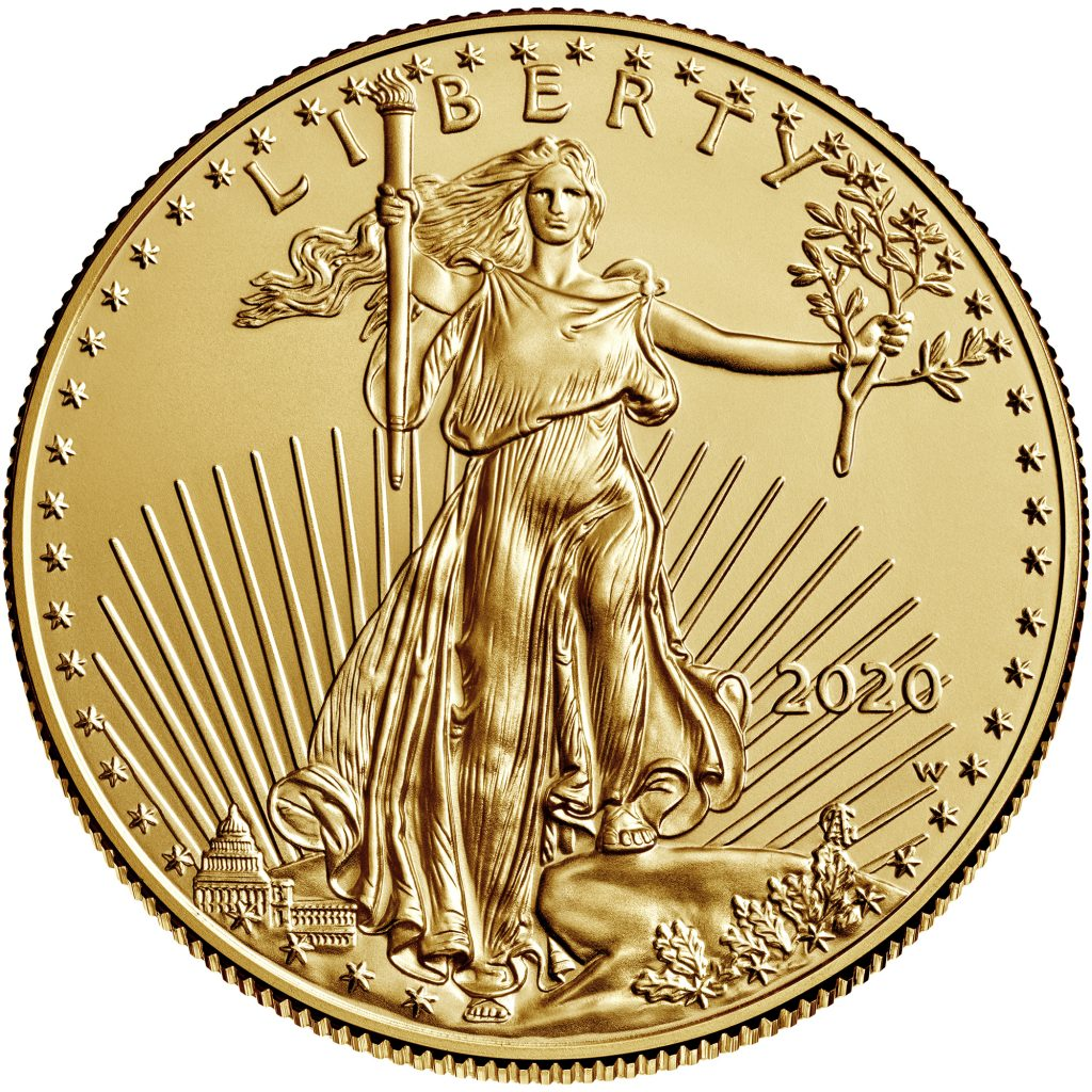2020-W American Eagle Uncirculated One Ounce Gold Coin (Image Courtesty of The United States Mint)