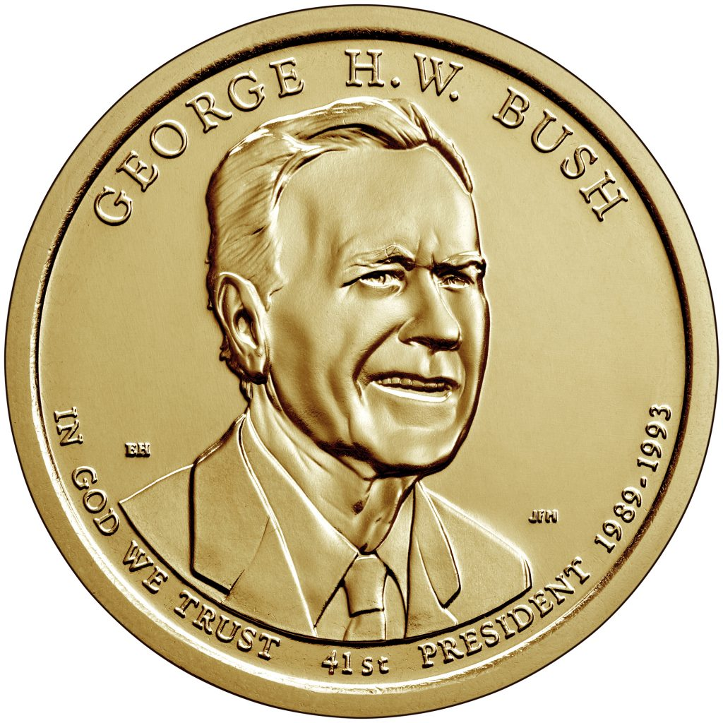 George H.W. Bush Presidential Dollar Obverse (Image Coursety of The United States Mint)