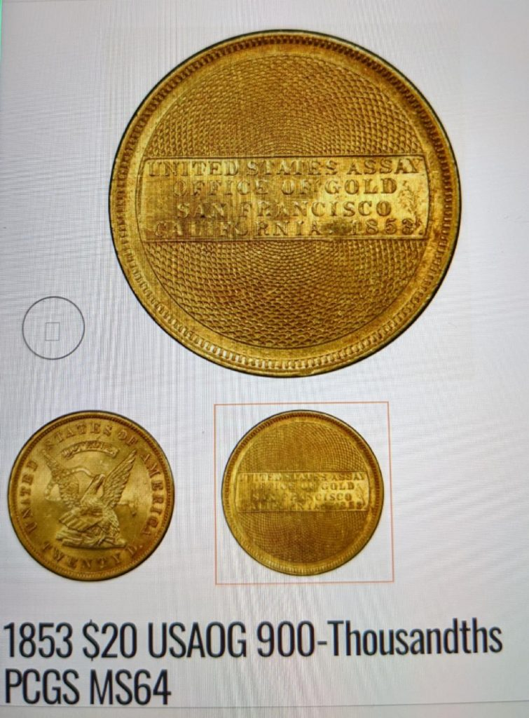 1853 US Office of Gold 900-Thousands Coin (Image Courtesy of NCIC)