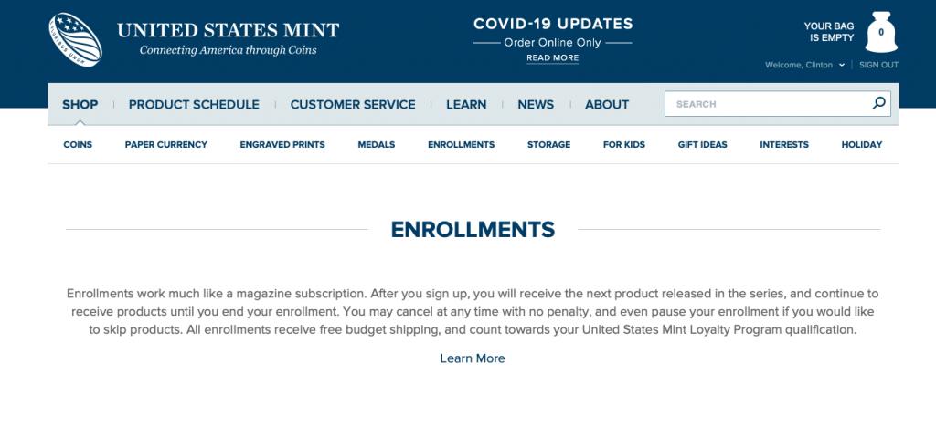 US Mint Enrollment Program