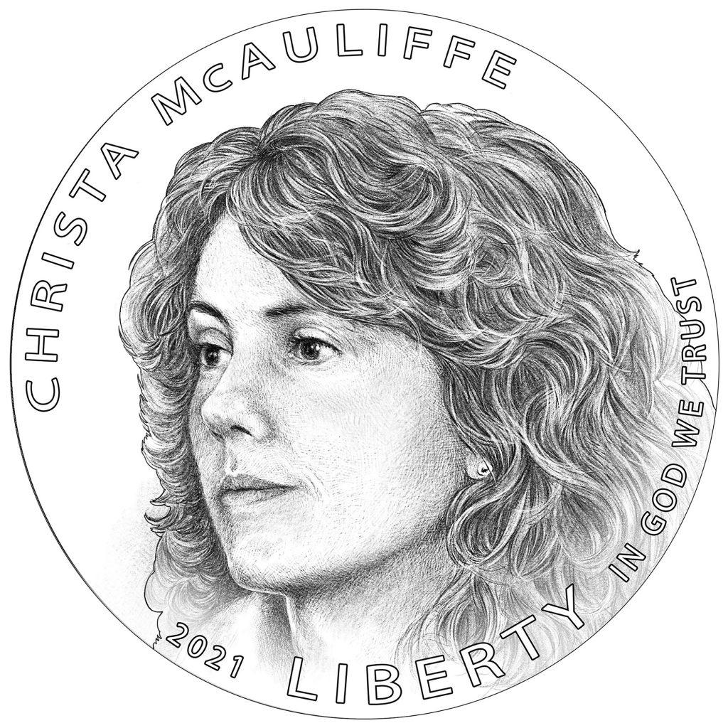 2021 Christa McAuliffe Commemorative Coin Obverse Line Art