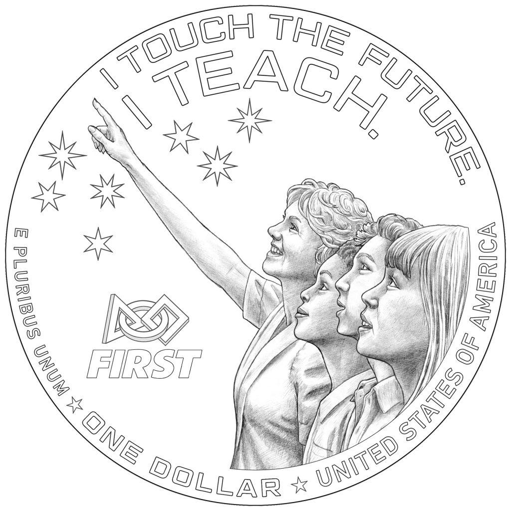 2021 Christa McAuliffe Commemorative Coin Reverse Line Art