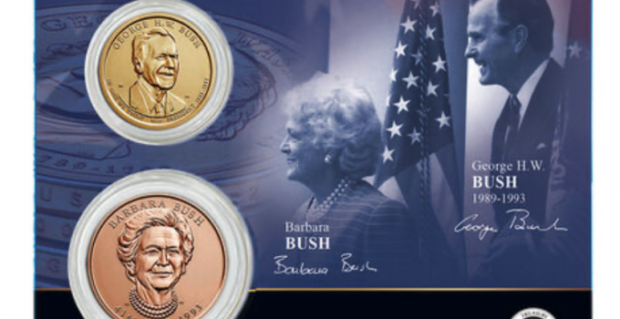 George H.W. & Barbara Bush Presidential Dollar Coin and First Spouse Medal Set