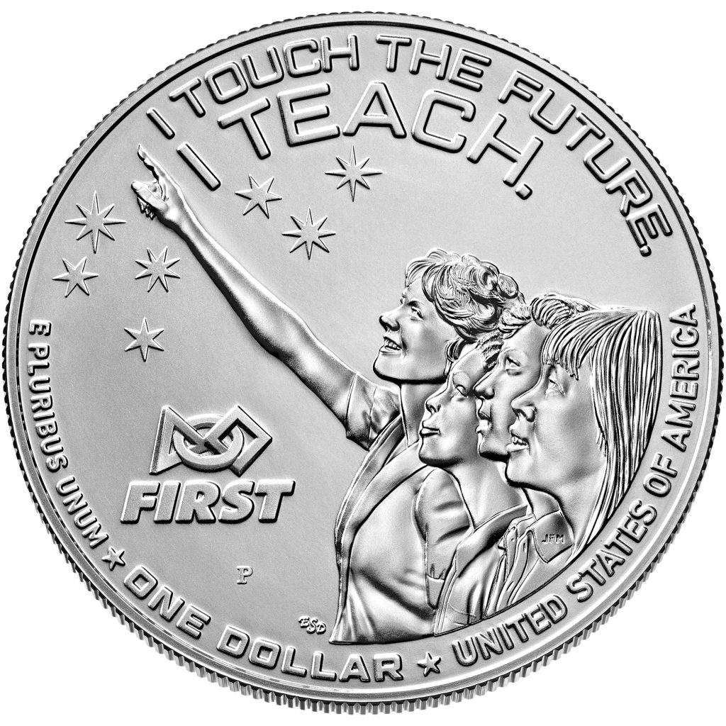 2021 Christa McAuliffe Commemorative Dollar Reverse (Image Courtesy of The United States Mint)