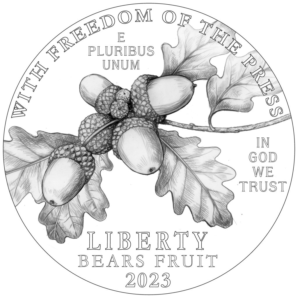 2023 American Eagle Platinum Obverse - Freedom of The Press