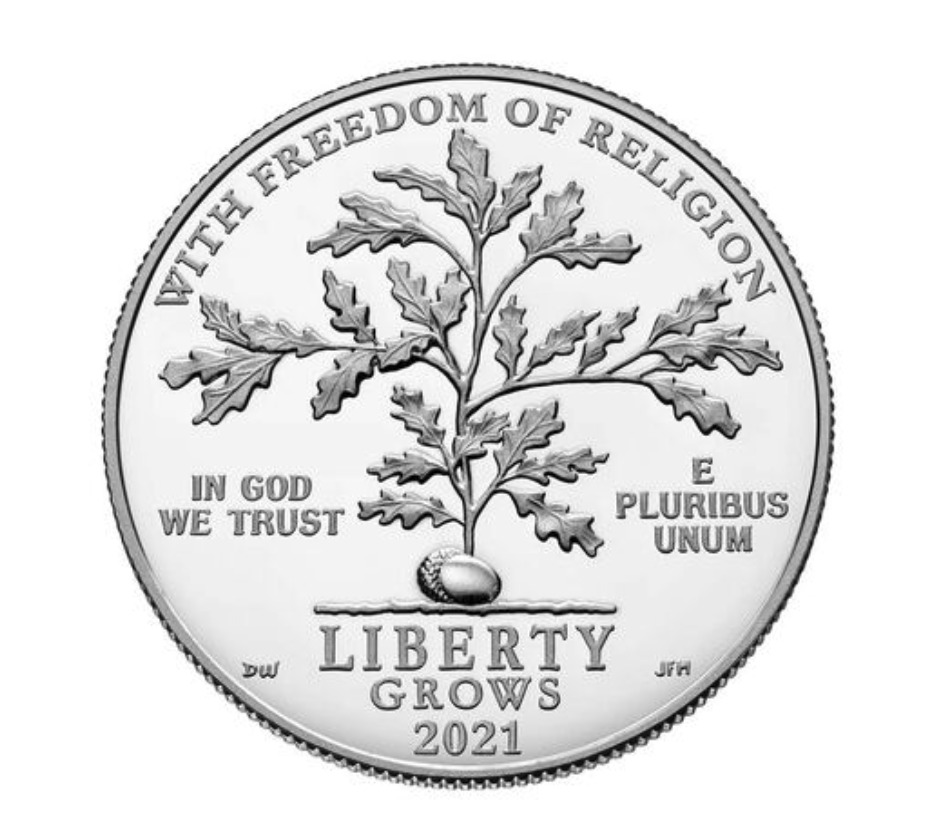 First Amendment to the United States Constitution 2021 Platinum Proof Coin - Freedom of Religion (Image Courtesy of The United States Mint)