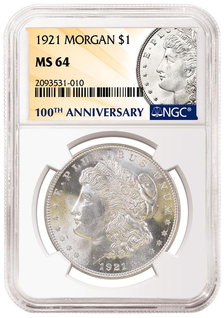 NGC 1921 Morgan Dollar 100th Anniversary Label (Image Courtesy of NGC)