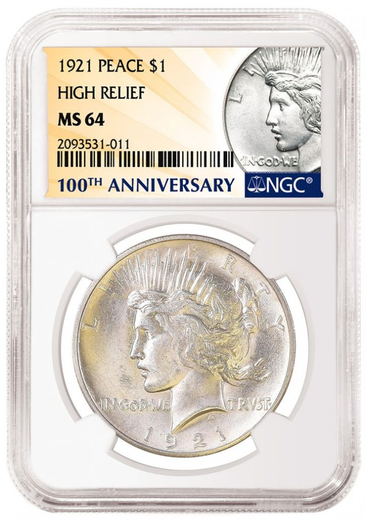 NGC 1921 Peace Dollar 100th Anniversary Label (Image Courtesy of NGC)