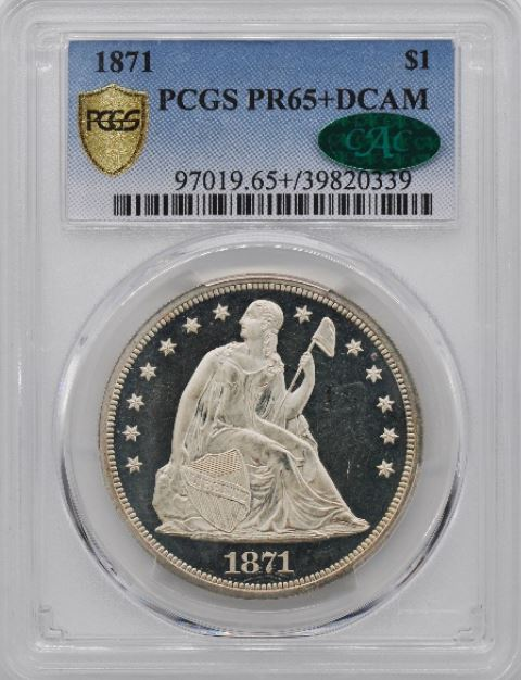 1871 Seated Libewrty Dollar PCGS PF65+ (Image Courtesty of PCGS)