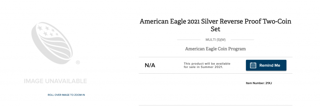 2021 American Eagle Two-Coin Reverse Proof Product Page at The U.S. Mint