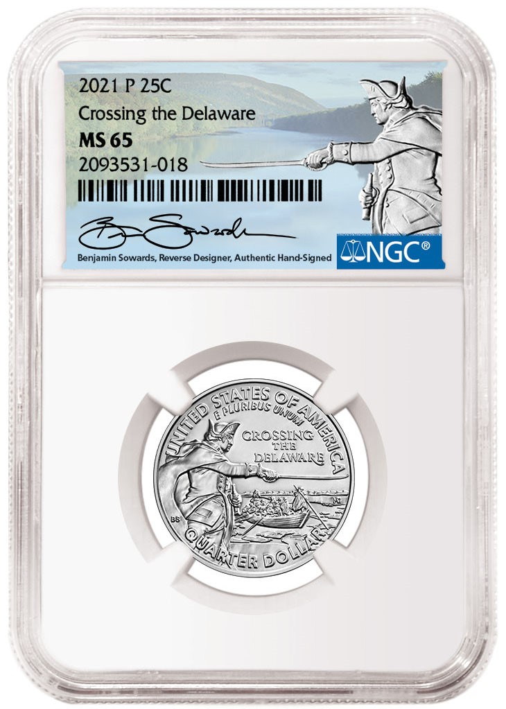 2021-P Washington Crossing the Delaware Quater Sowards Signature Label (Image Courtesy of NGC)