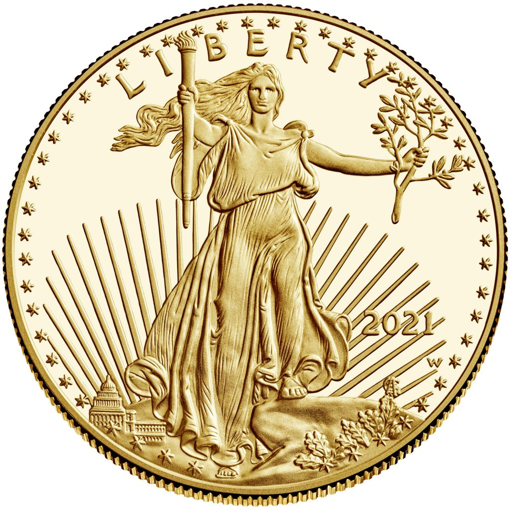 2021-W American Eagle Gold Proof One Ounce Obverse (Image Courtesy of The United States Mint)