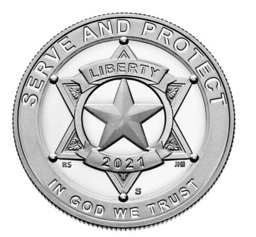 National Law Enforcement Memorial and Museum 2021 Proof Clad Half Dollar Obverse