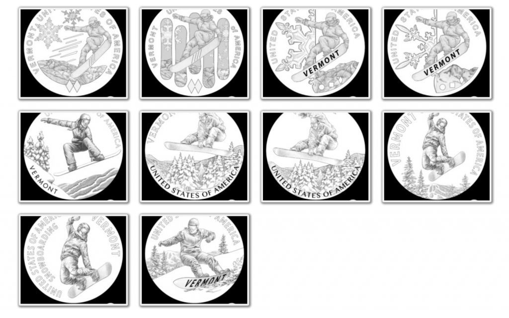 Vermont American Innovation Dollar Design Candidates (Image Courtesy of The United States Mint)