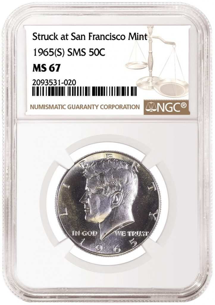 1965(S) SMS 50 Cents with the new NGC attribution Struck at San Francisco Mint. (Image Courtesy of NGC)