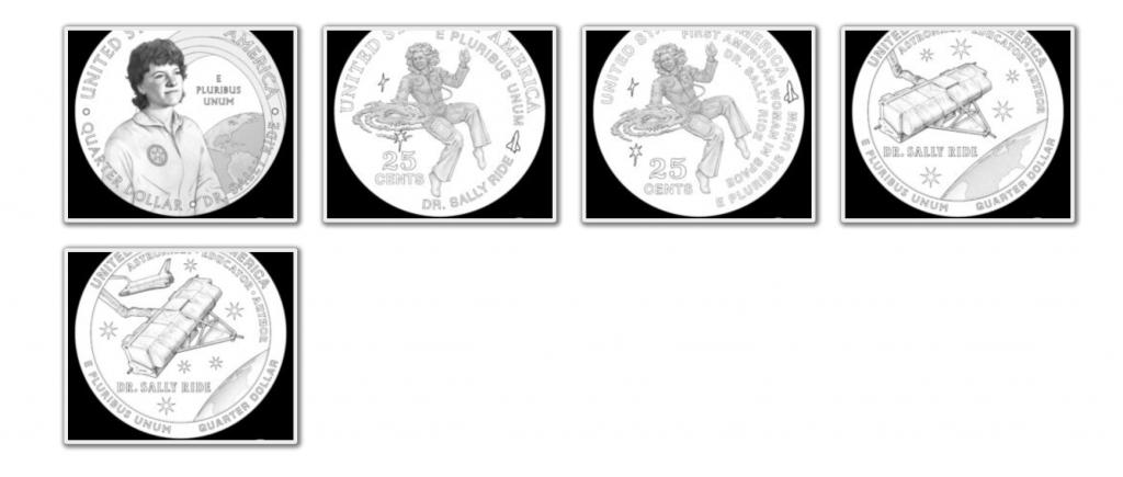 American Women Quarter Program Sally Ride Reverse Design Candidates (Image Courtesy of The United States Mint)