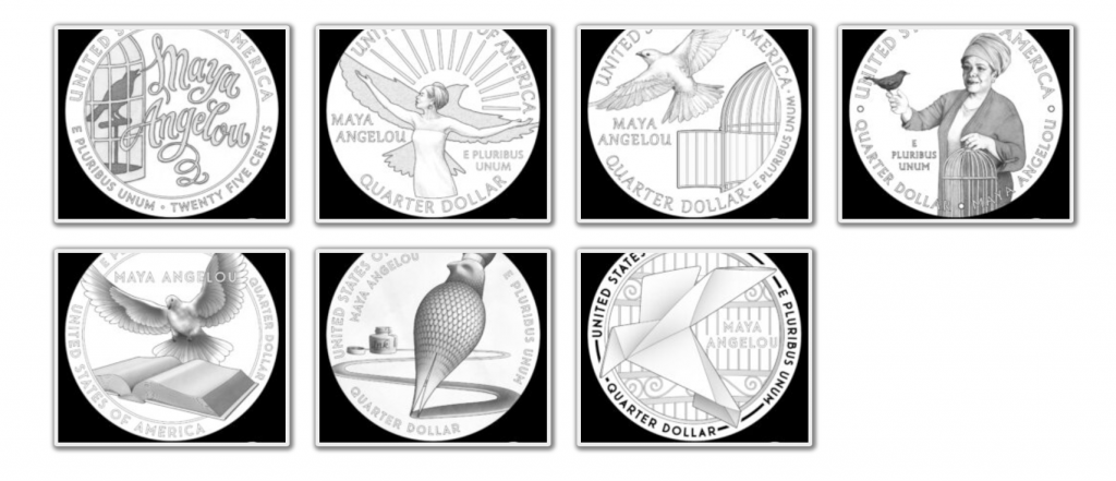 American Women Quater Program Maya Angelou Reverse Candidate Designs (Image Courtesy of The United States Mint)