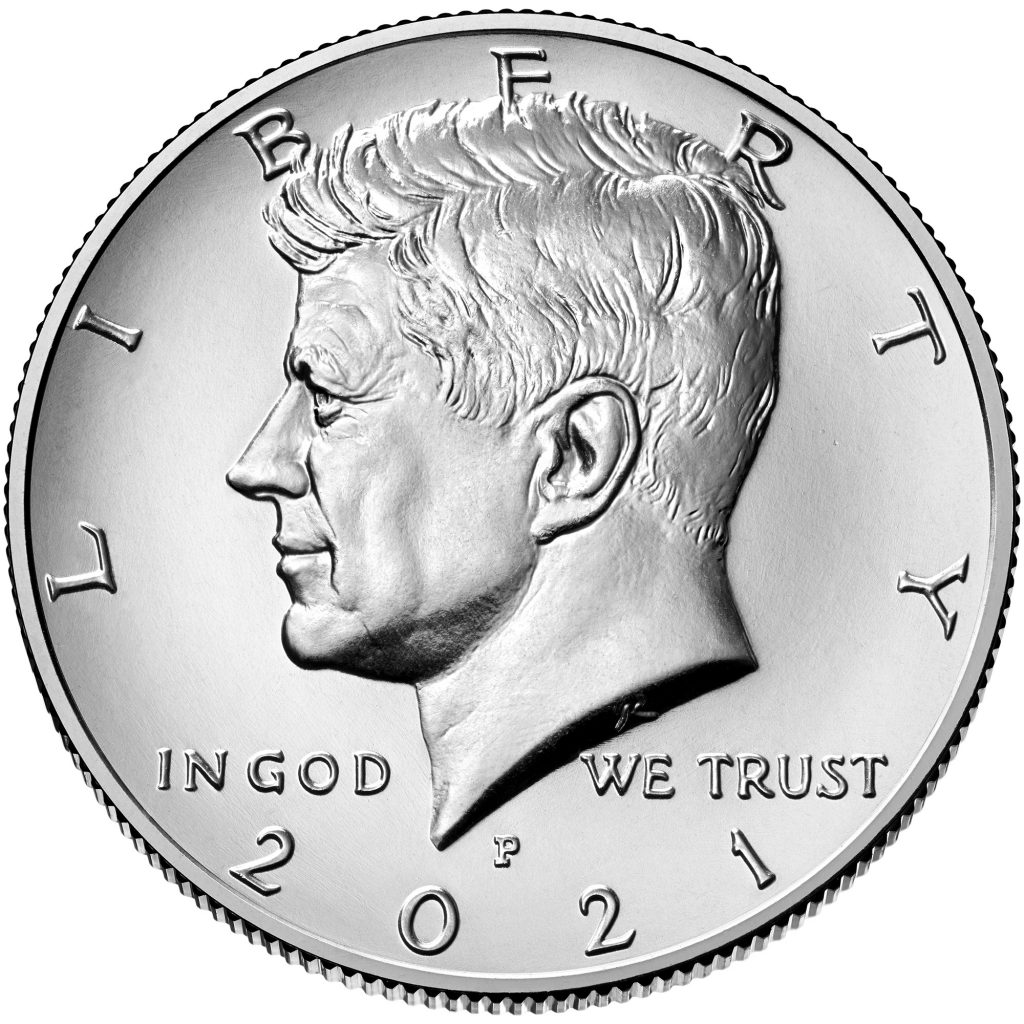 2021-P Kennedy Half Dollar Obverse (Image Courtesy of The United States Mint)