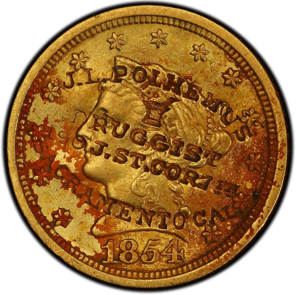 Front-of-unique-1854-New-Orleans-Quarter-Eagle-gold-coin