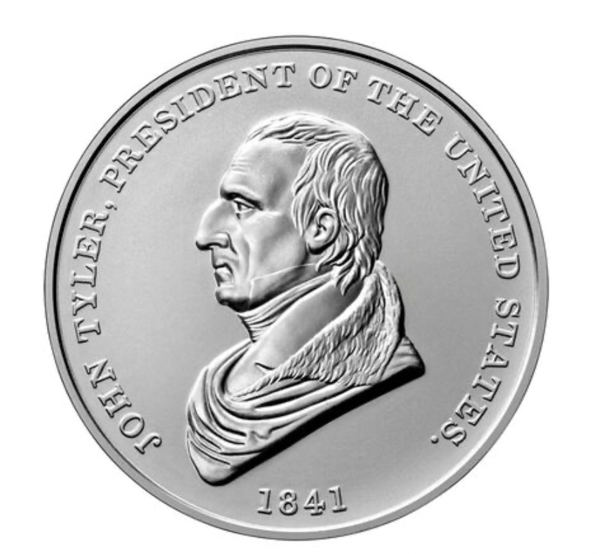 John Tyler Presidential Silver Medal Obverse (Image Courtesy of The United States Mint)
