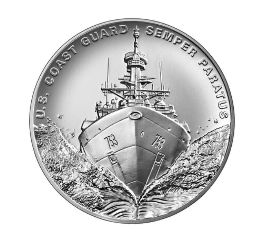 United States Coast Guard 2.5 Ounce Silver Medal (Image Courtesy of The United States Mint)