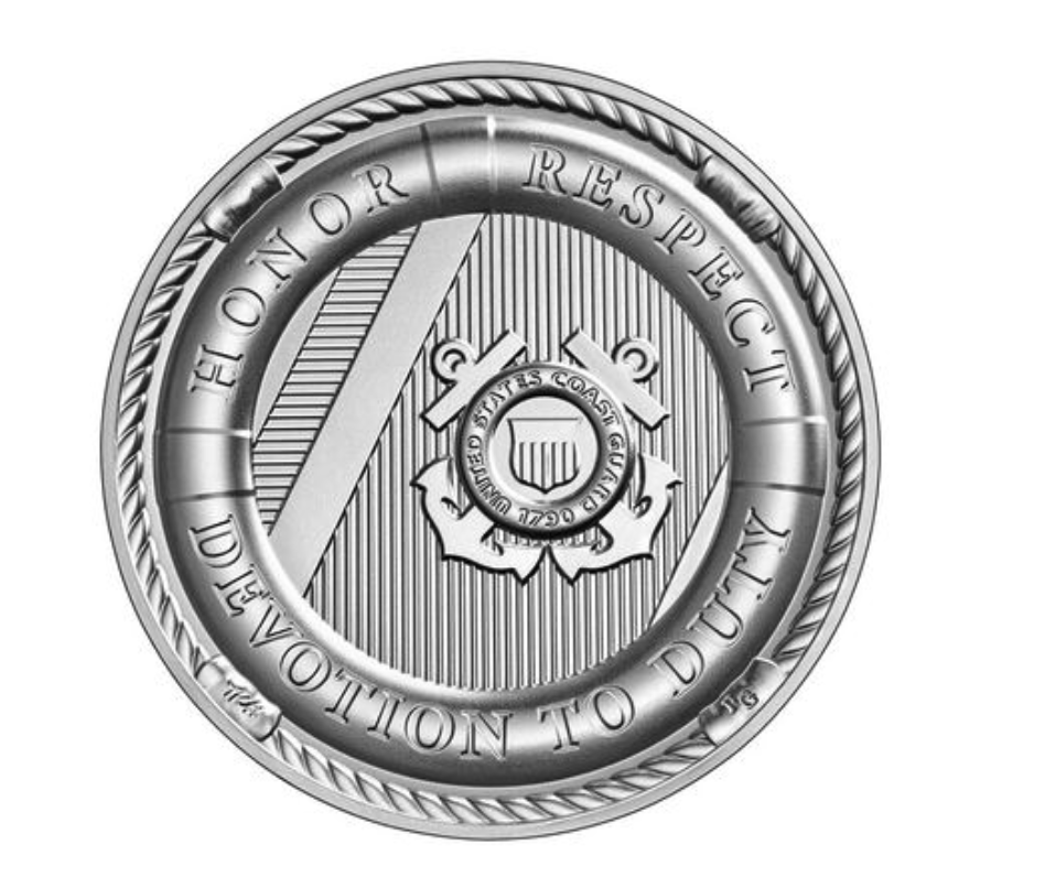 United States Coast Guard 2.5 Ounce Silver Medal Reverse (Image Courtesy of The United States Mint)